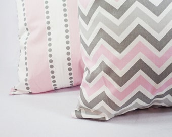 Two Pink Decorative Throw Pillow Covers Baby Pink Grey and White - Throw Pillow Couch Pillow Cushion Cover Accent Pillow