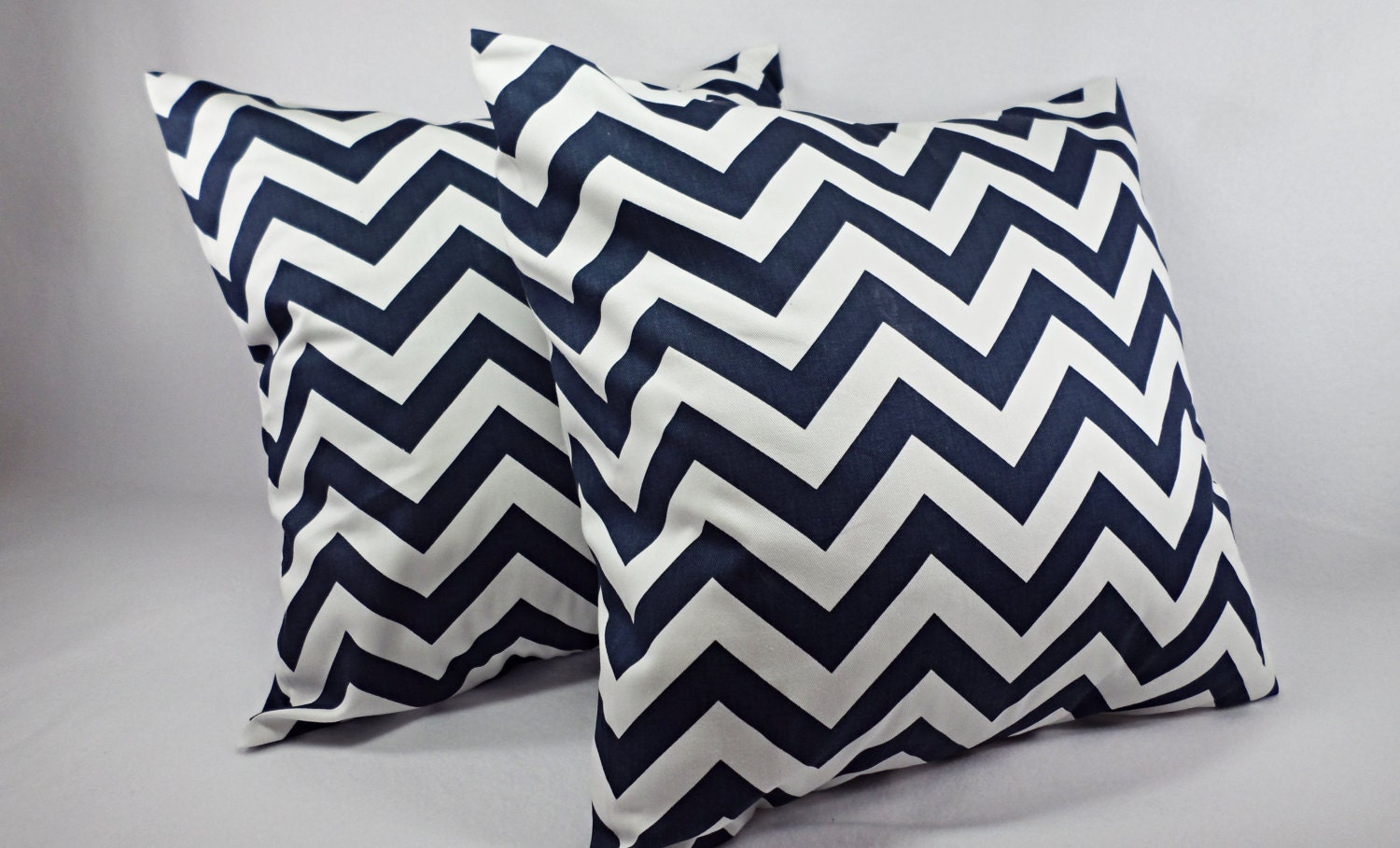 2 Chevron Decorative Pillow Covers Blue and White Navy Blue