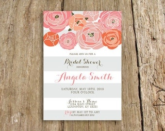 modern floral bridal shower invitation with subtle stripes - customize with your colors - shown in peach and charcoal