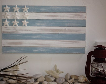Beach House Coastal cottage distressed nautical wooden starfish flag beach glass blue