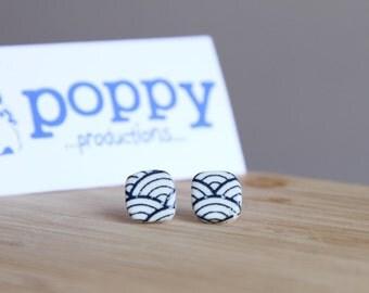 White Porcelain / Ceramic Stud Earrings - Dark Blue Japanese Wave