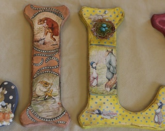 """11"""" - 18"""" Beatrix Potter- Letter Set - Customize Name, Colors and Characters!"""
