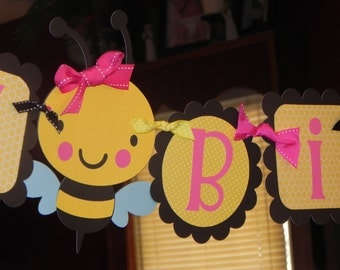 Bumble Bee Birthday Banner - Happy Bee-day Birthday Banner