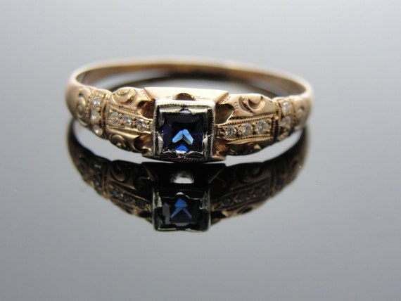 Antique 1800's Rose Gold Engagement Ring with Square