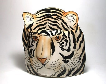 Porcelain Tiger  Vase Decorative Sculpture Vessel