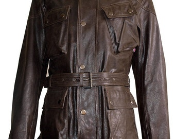 Panther Jacket in Real Calf Distressed Brown Leather