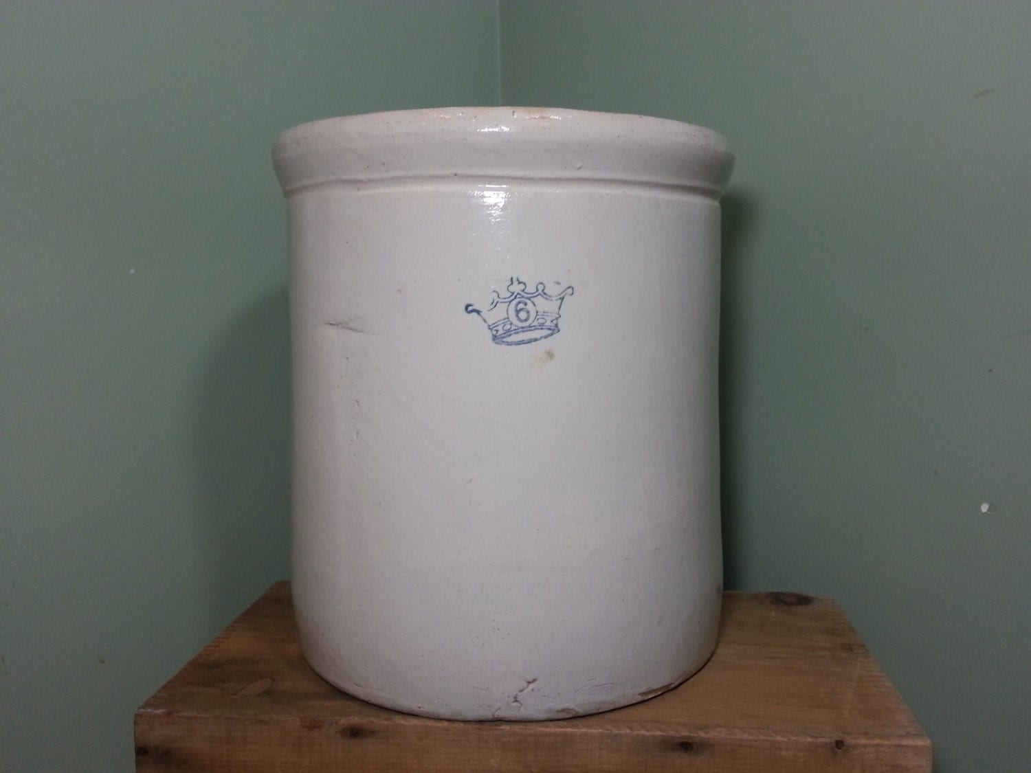 Antique Kings Crown Ransbottom 6 Gallon Stoneware Crock