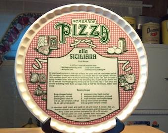 """PIZZA ALLA SICILIANA  11 1/2"""" recipe pizza platter"""