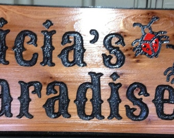 Wood Carved Signs.  1 - 2 Lines with Graphic