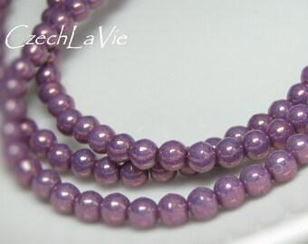 Round Druk Beads Purple-Metalic (018)