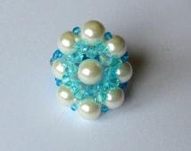 bead woven jewellery beaded rings Swarovski crystal stretch ring