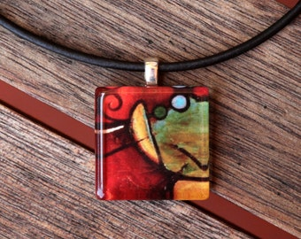 Abstract Art Glass Tile Pendant Necklace