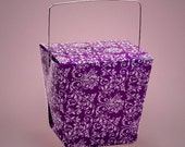24 Purple Damask Chinese Take Out Favor Boxes PURPLE Damask Chinese Take Out Favor Boxes with Handles Chinese Take Out Boxes