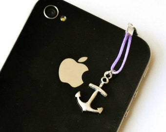 Anchor iPhone Earphone Plug, Dust Plug - silver anchor charm with purple cord. Cellphone Accessories, phone decoration, nautical charm