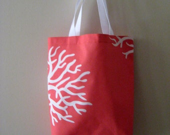 Coral Cotton Reusable Shopping/Market Tote Bag