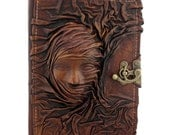 Scarfed Woman On A Leather Journal / Notebook / Diary / Sketchbook / Leatherbound - ALittlePresent