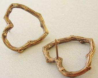 bronze twig heart post earrings nature jewelry