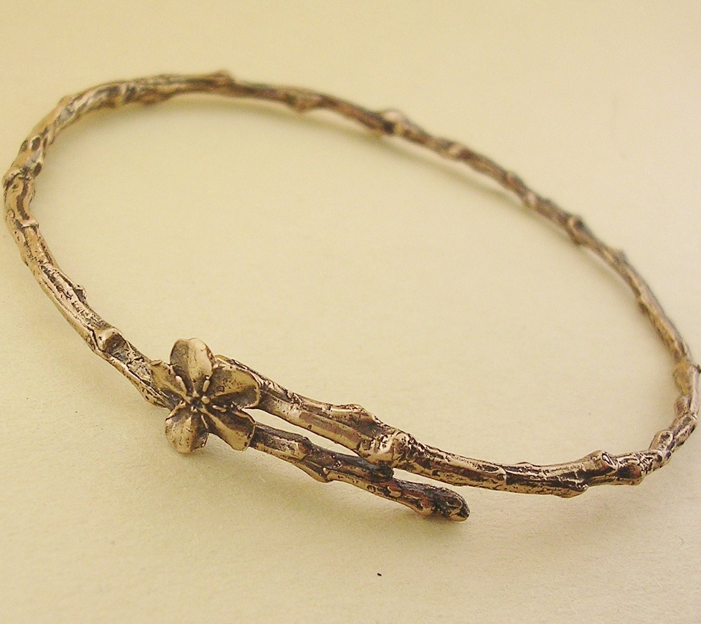 forget me not twig jewelry bronze bangle bracelet 4 sizes