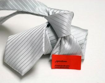 Tie (3 inch) in Stripes in Silver grey on Silver grey