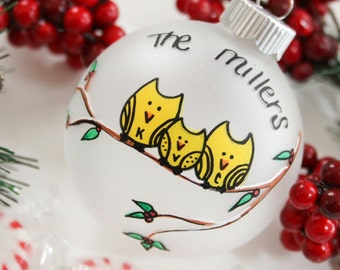 Personalized Owl Family Christmas Ornament (Up to 10 Family members)