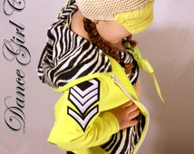 Neon hoodie, dancewear, girls clothes, yellow with black and white zebra fabric and military bling