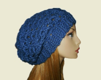 Blue Slouchy Beanie Knit Crochet Denim Blue Beany Slouch Women Teen Hat Accessories Perfect Gift Bestseller Hat