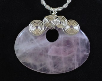 Rose Quartz Oval Pendant with Silver-Plated Spirals and Chain