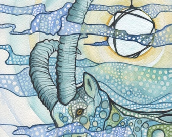 Ibex Goat 5 x 7 print of detailed watercolour artwork light whimsical blues and yellow green earth tones, magical, perfect for child