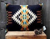 Geometric Wool Pillow // Echo Black / cream / turquoise / ochre / blue