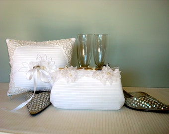 Free US Shipping Wedding Bridal Bridesmaids White Clutch and Ring Bearer's Pillow Set