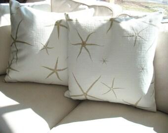 "Free US Shipping Coastal Nautical Cotton Khaki and Ivory 20"" Sea Star Starfish Beach Pillow Cover Both Sides Usable"