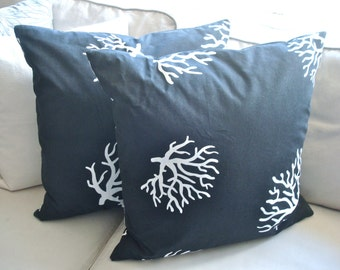 Free US Shipping Summer Beach Coastal Nautical Black White Coral Pillow Cover