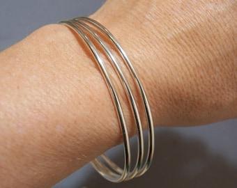 Sterling Silver Bangles - Set of 3 -  12 or 10 gauge - Stacking Bracelet - Sleek Elegant Design