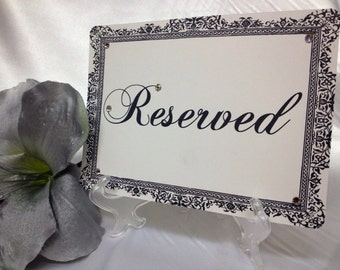 Damask Quot Reserved Quot Signs 5x7 With Display Stand Personalized