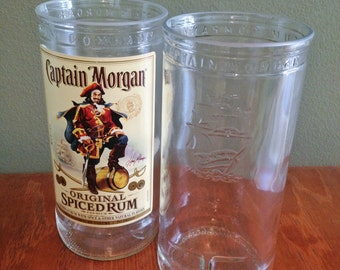Recycled Captain Morgan Bottles - Made into Tumblers