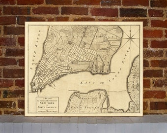 1776 New York Vintage Map Canvas Print