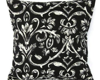 Sale Black White Pillow Cover Damask Home Decor Decorative Throw Toss Accent Pillow 16x16
