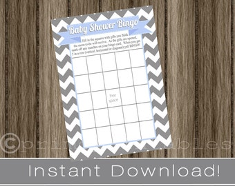 Baby Shower Bingo Game Cards gray chevron and light blue INSTANT DOWNLOAD diy digital printable file print your own , babyshower