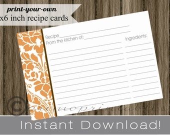 Printable Recipe Cards DIY orange and white damask with brown INSTANT DOWNLOAD digital Print Your Own 4x6 fall bridal shower