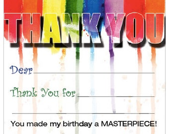 Customizable Paint Party THANK YOU // Art Party // Paint Brush Strokes // Splatter //  Printable