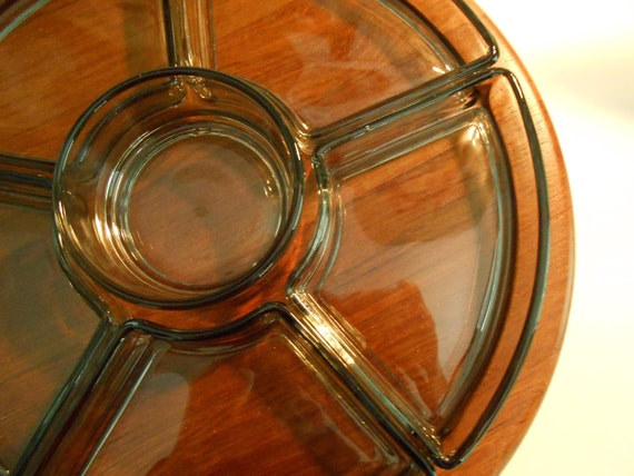RESERVED for Tony  - Danish Modern Digsmed Danmark Teak Tray Smoked Glass EXCELLENT