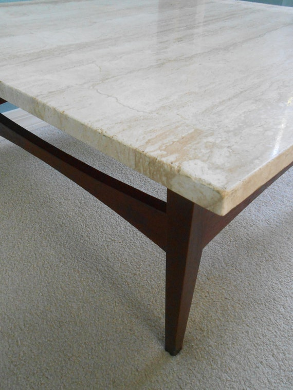 Mid Century Large Square Coffee Table Travertine Top Danish