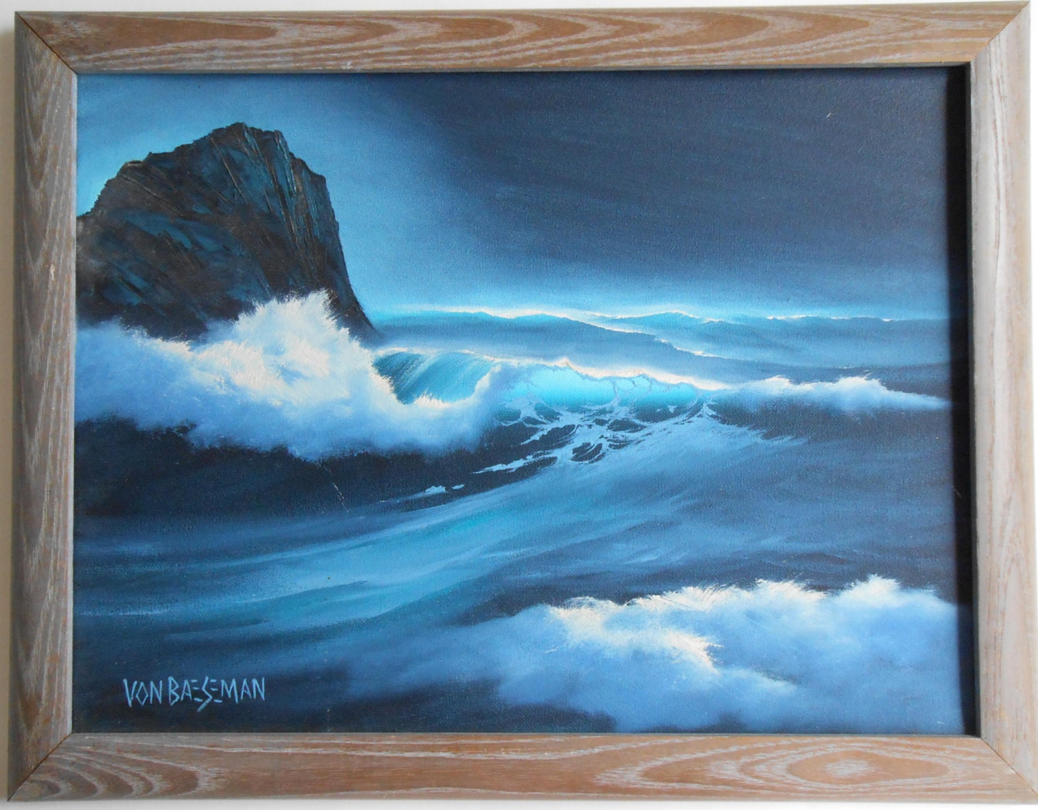 Seascape Oil Painting Of Whale S Tail In Moonlight Framed