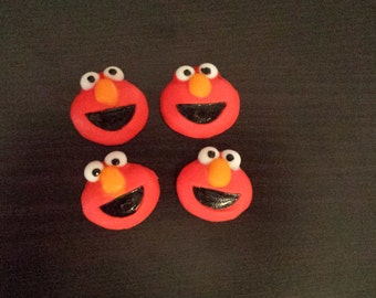 12 Elmo fondant edible cupcake toppers sesame street cake decorations