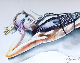 Watercolor Painting. Wall art portrait of woman with black dress.
