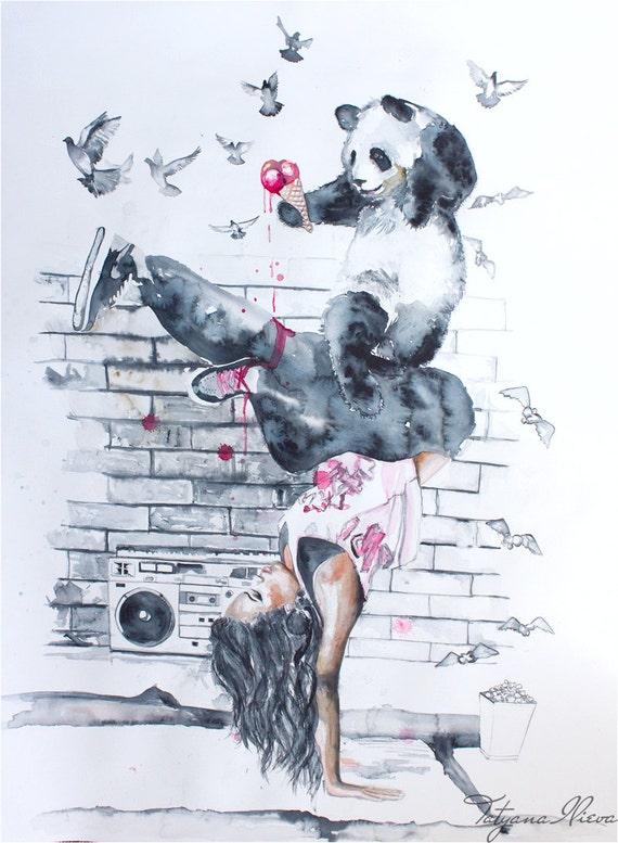 SALE 15% OFF Original Watercolor Painting - Hungry bear doesn't play folk dance. Hip Hop. Fantasy art .