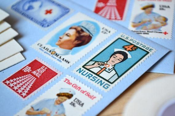 Nursing Stationery Gift Set, Nurse Vintage Medical Postage Stamped Envelopes & Cards