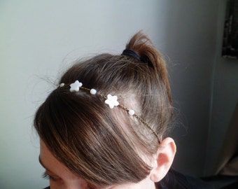 head band / headband 'Star Pearl and Crystal'