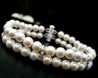 Ivory Pearl Bridal Bracelet Ivory Swarovski Pearls Rhinestones Bracelet Classic Bracelet Bridal Rhinestone  vintage style bracelet FRANCESCA