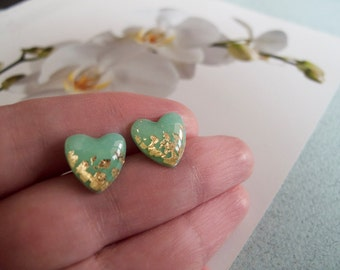Mint Green Gold Heart Stud Earrings - Hypoallergenic Surgical Steel Post
